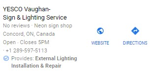 YESCO Vaughn business listing with a service justification.