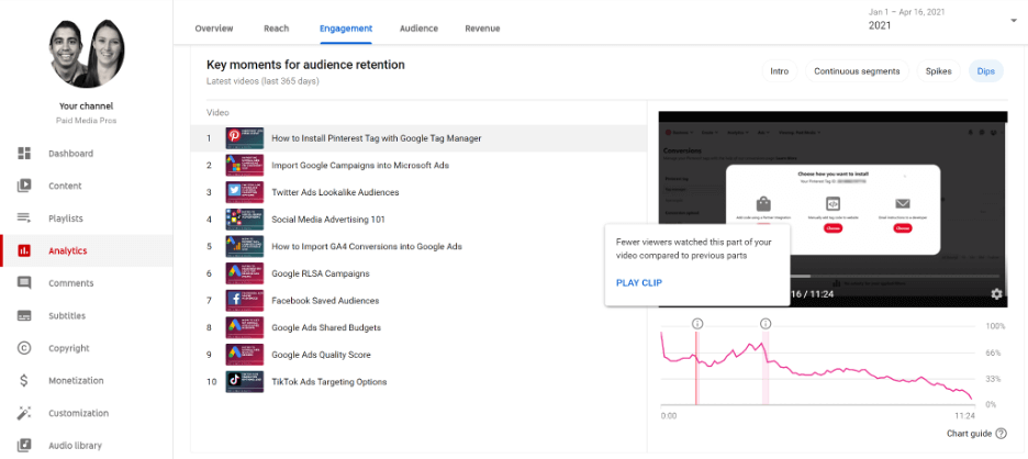 key moments report in youtube studio channel analytics