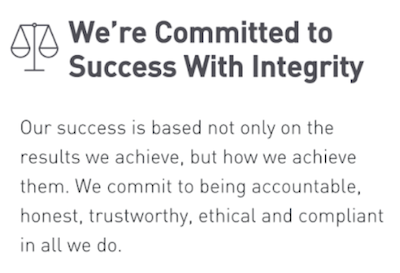 screenshot of company core values statement