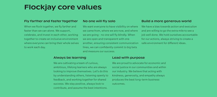 punny company core values example by flockjay