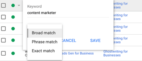 the three different keyword match types in google ads: exact, phrase, broad