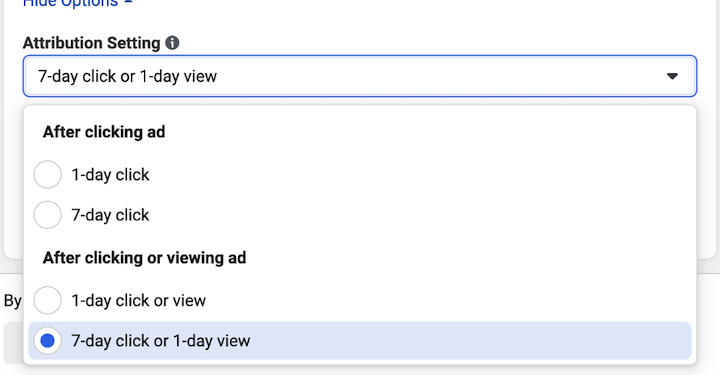 facebook ad attribution window drop-down, now only 7-days in iOS14