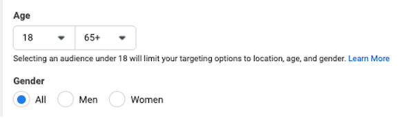 facebook ad targeting in iOS 14 and privacy first world: demographic targeting setup