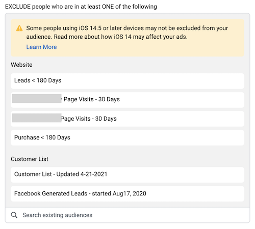 audience exclusion limitation in facebook ads manager due to iOS 14
