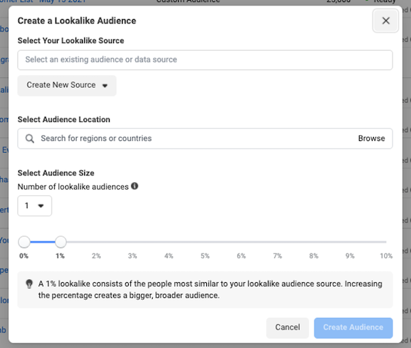 facebook ad targeting in iOS 14 privacy first world: lookalike audience setup in ads manager