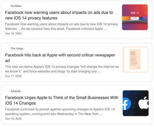 news articles about facebook ad targeting impacted by iOS 14